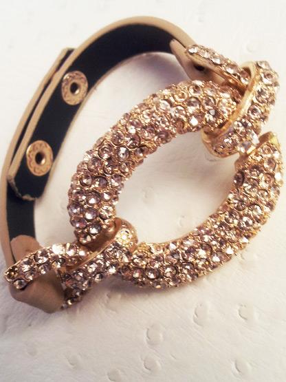 bracelet femme cuir strass beige, bracelet mode femme