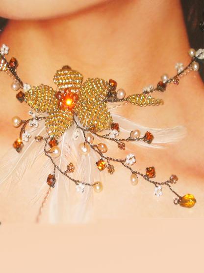 bijoux fantaisie mariage collier fleur bronze mordore, collier fantaisie mariage