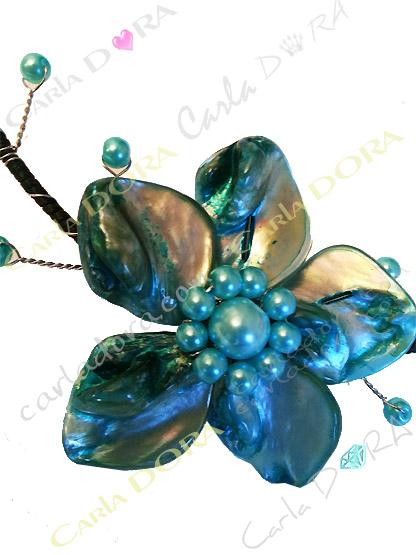 collier femme tour de cou fantaisie fleur en nacre bleu turquoise