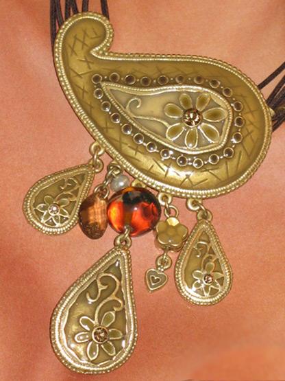 bijoux fantaisie femme collier kashmir mordore emaux