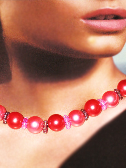 collier femme fantaisie perles ras du cou perles rouges et perles roses