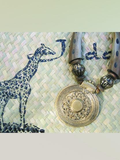 bijoux fantaisie ethnique collier bois et metal