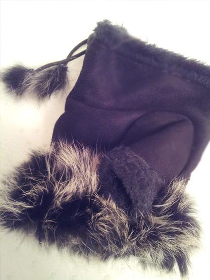 gants mitaines fourrure et strass leopard