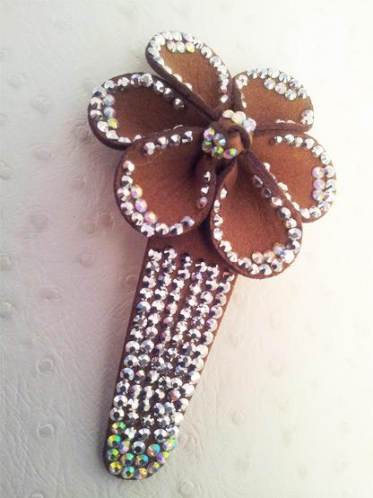 barrette cheveux femme pince clip fleur cuir et strass