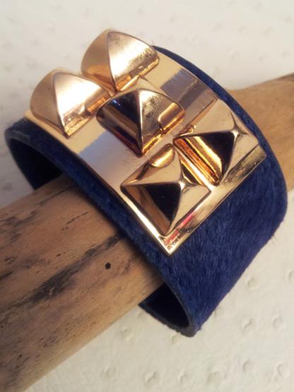 bracelet poulain bleu nuit, bracelet fantaisie femme couleur bleu et or