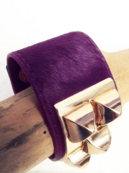 bracelet femme poulain couleur prune, bracelet fantaisie femme poulain prune