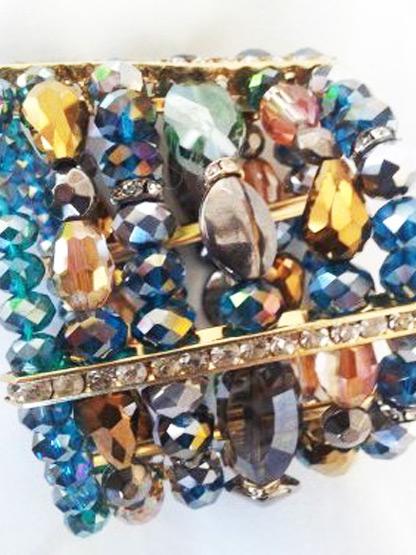 bracelet femme manchette 6 rangs cristal turquoise mordore