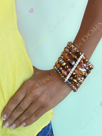 bracelet femme manchette cristal 6 rangs mordore