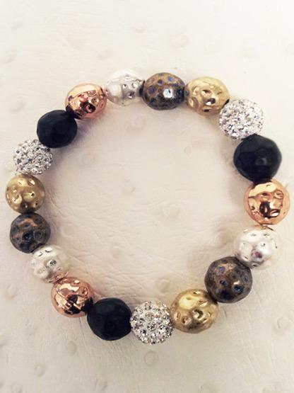 bracelet shamballa 3 boulles strass + 15 boules metal martele cuivre dore argent bronze et anthracite