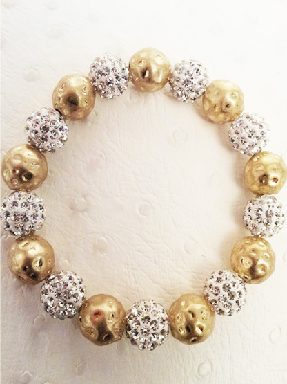 bracelet shamballa 9 boules strass + 9 boules metal dore martele