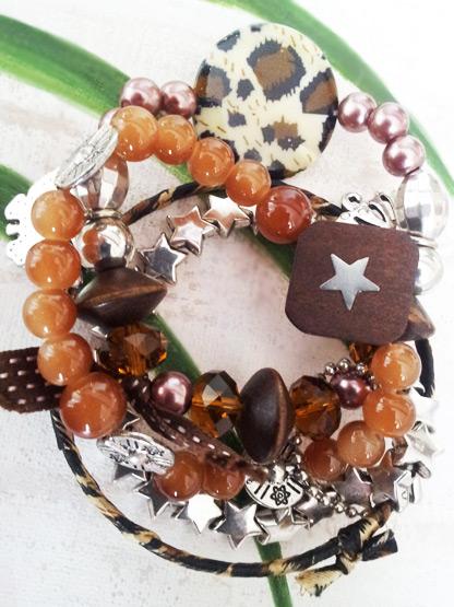 bracelet etoiles argent perles bois panthere, bracelet multiple femme