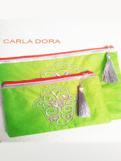 pochette femme main de fatma vert anis brodee fil argent zip orange fluo, pochette femme mode tendance