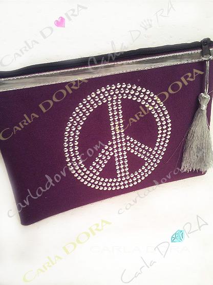 pochette femme peace and love tissu violet prune ruban argent, petite pochette tissu pour femme