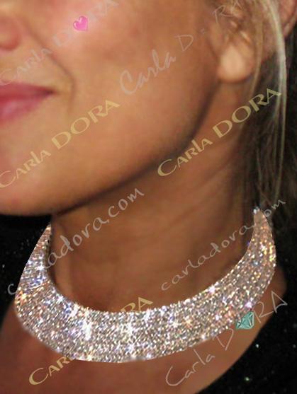 collier bijou ras de cou rigide 5 rangs de strass argent, collier ras du cou femme