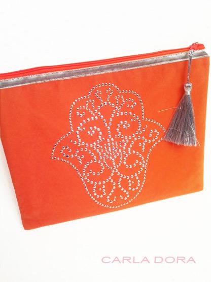 pochette femme main de fatma orange brodee argent zip orange fluo grand format, pochette femme mode