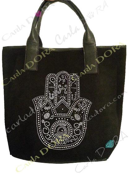 sac main de fatma porte epaule noir pour shopping, sac a main main de myriam en strass et clous