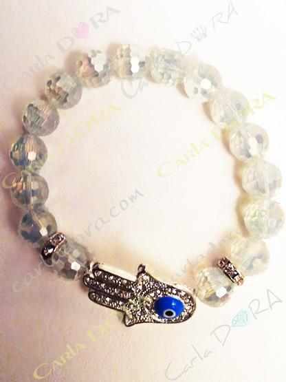bracelet shamballa main fatma contre le mauvais oeil, bracelet shamballa transparent