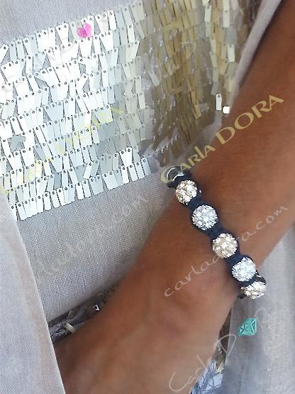 bracelet shamballa 9 boules strass argent et or cordon noir