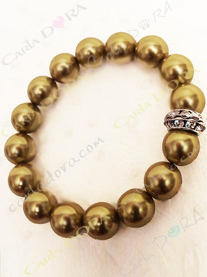 bracelet fantaisie femme perles vert kaki et strass, bijoux fantaisie perle