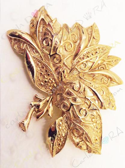 broche gerbe de fleur vintage doree