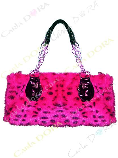sac a main fausse fourrure rose fluo et noir motif panthere strass clous metal dore
