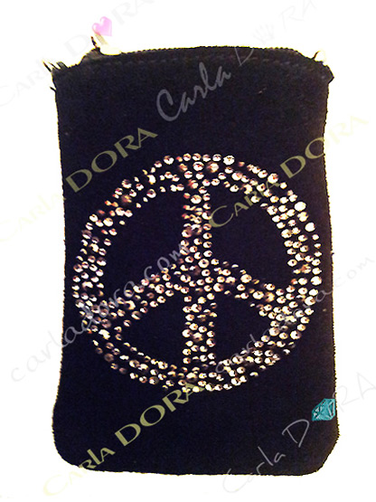 protection telephone portable peace and love strass daim noir