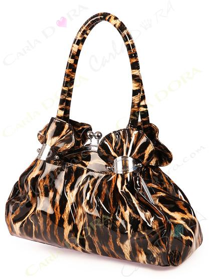 sac a main femme a la mode leopard camel et noir vernis, sac main glossy et glamour