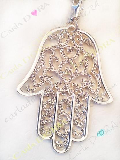 collier sautoir main de fatma arabesque argent, bijou fantaisie sautoir main de fatma