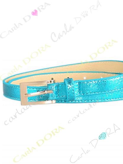ceinture fine pour femme en simili cuir irisee, ceinture femme bleu turquoise a boucle carre