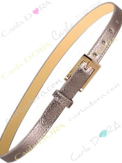 ceinture fine pour femme aspect cuir argente bronze vieilli metalise, ceinture fine a boucle