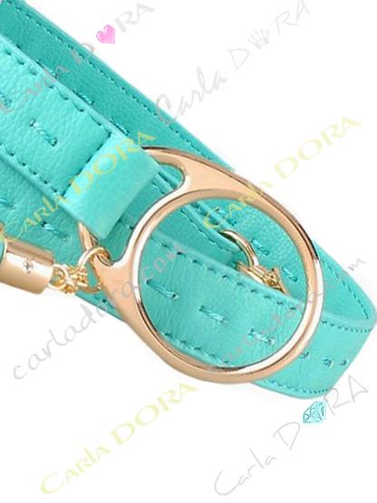 ceinture femme reglable pompon simili cuir couture, ceinture fine bleu turquoise a boucle pour femme