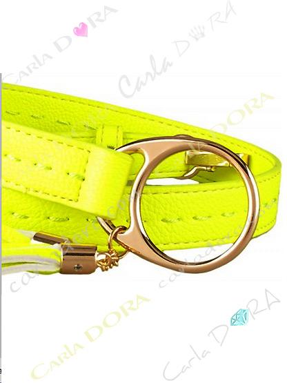 ceinture jaune fluo originale reglable avec pompon en simili cuir, ceintures femme couleur fluo