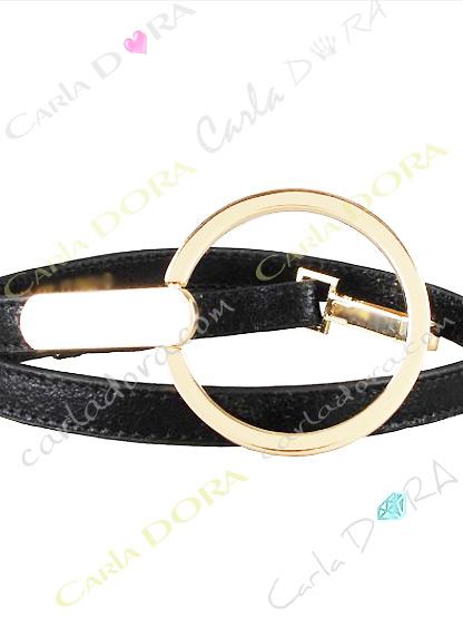 ceinture pour femme aspect cuir couleur noir, ceinture fine noire grande boucle ronde