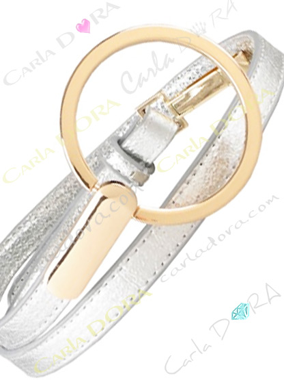 ceinture femme simili cuir argente avec boucle anneau doree, ceinture fine arent a grande boucle ronde doree