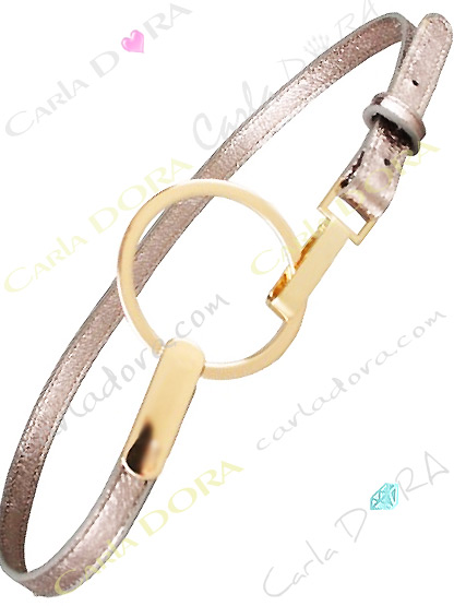 ceinture simili cuir femme metalise bronze a grande boucle ronde