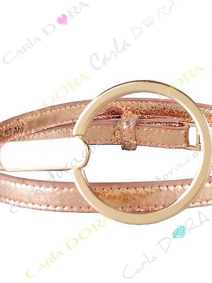 ceinture fine dore rose aspect cuir vieilli metalise, ceinture fine a grande boucle ronde doree