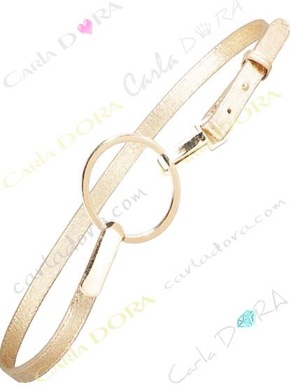 ceinture fine doree aspect cuir vieilli metalise, ceinture fine or clair a grande boucle ronde doree