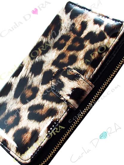 portefeuille glossy leopard - panthere camel et noir vernis, porte monnaie vinyl glossy et glamour