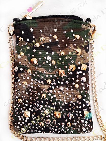 pochette telephone portable strass clous cristal sur tissu armee bandouliere