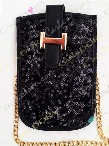 pochette noire paillettes pour telephone portable