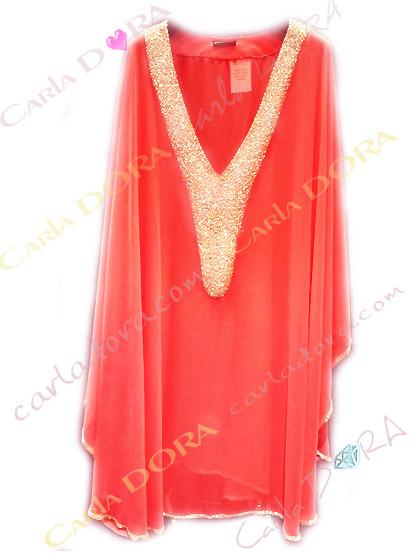 pancho tunique grande taille chic moderne pour ceremonie soiree mariage, pancho femme plage couleur orange corail