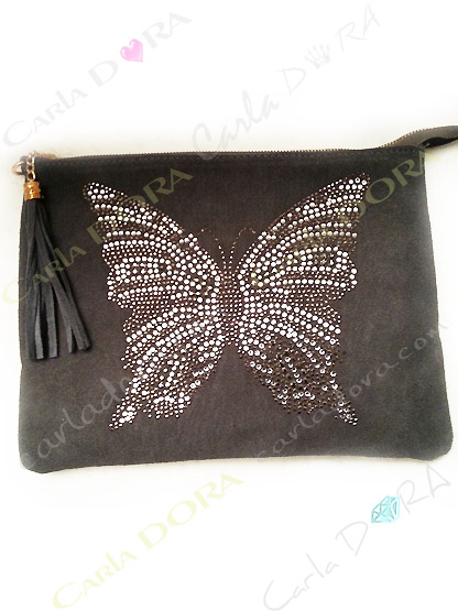 pochette sac papillon strass daim gris strass et cristal, pochette sac femme 2 en 1