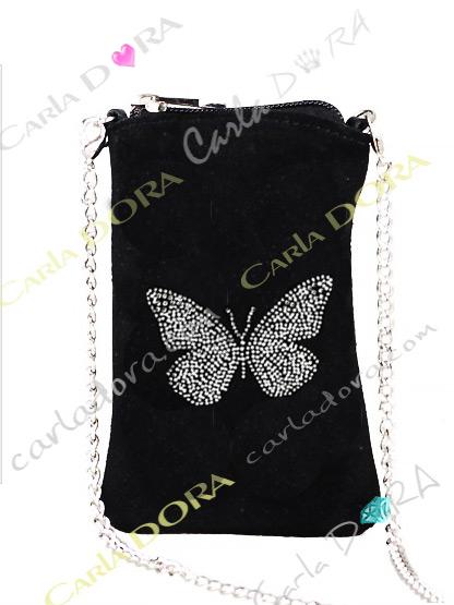 etui pour telephone portable papillon daim noir strass