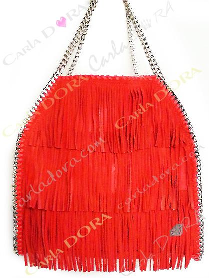 sac main femme a franges daim corail , sac femme hippy chic porte mains corail