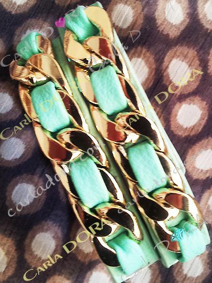 bracelet fantaisie cuir 2 tours chaine doree couleur bleu vert lagon, bijoux fantaisie bracelet chaine