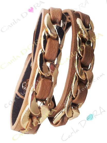 bracelet fantaisie cuir 2 tours chaine doree couleur camel, bracelet fantaisie marron camel