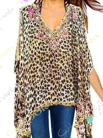 tunique femme brodee fleurs kaftan panthere 65cm tunique femme ethnique caftan de soiree glamour motif panthere leopard