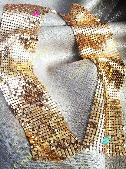 collier fantaisie col dore souple paillette, bijoux fantaisie collier