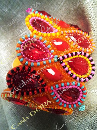 bracelet bresilien hippy chic orange corail turquoise, bracelet cuir perles et strass tisses