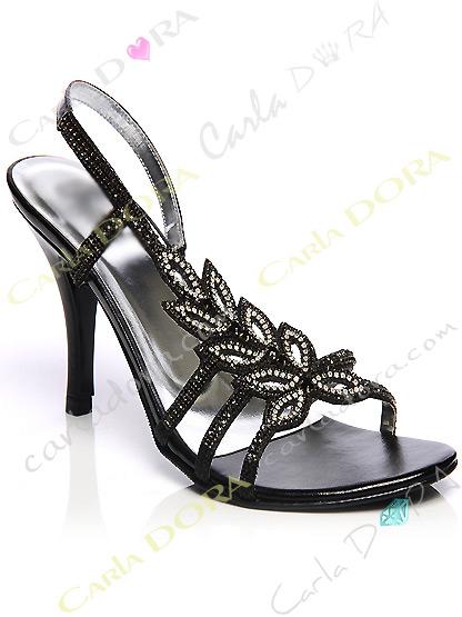 chaussures de soiree fleur noire et argent a strass, sandales de soiree strass